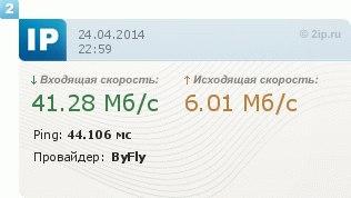 Скорость интернета у Виктора Головко в Светлогорске.