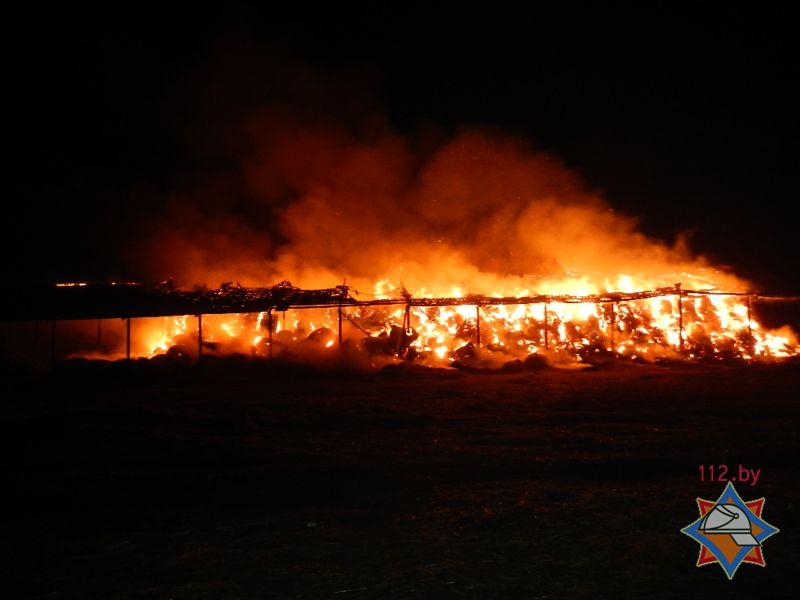горит сеноскалад в Речицком районе, пожар