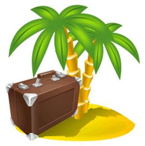 пальмы, чемодан, остров