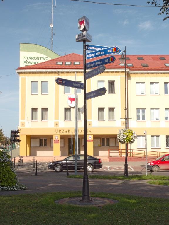 Табличка в Бельске-Подляском с расстоянием до Светлогорска