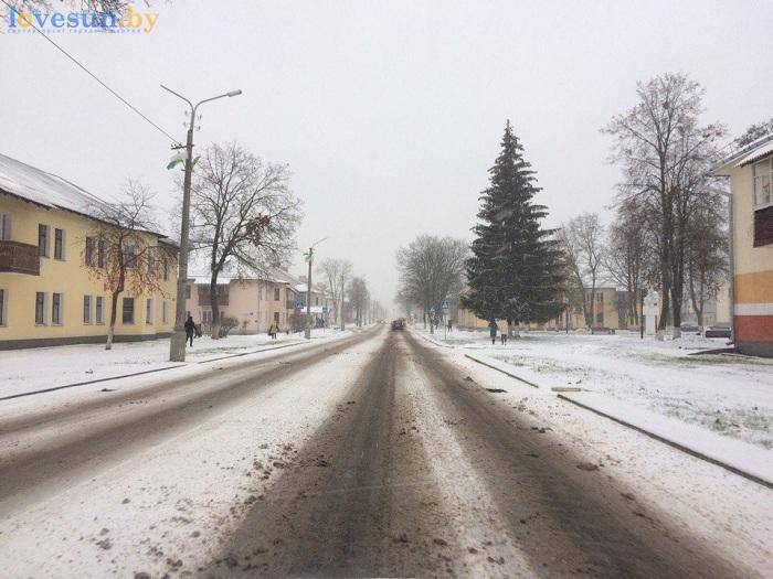 первый снег 2016/2017 дорога зима колея