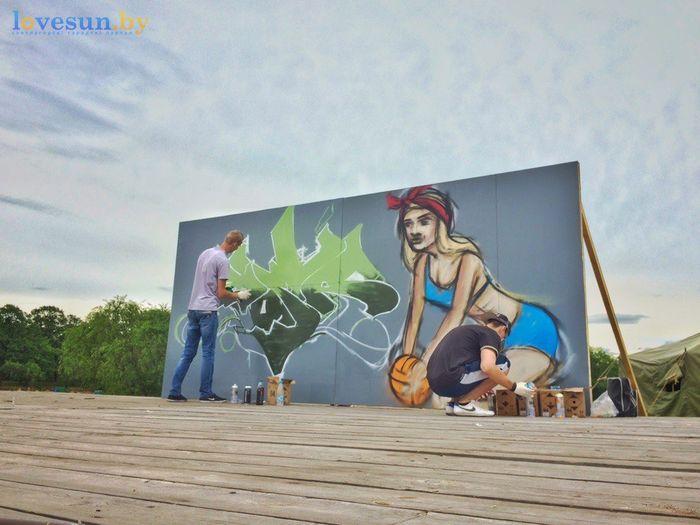 День молодёжи 24.06.2017 пляж песок граффити рома на сцене