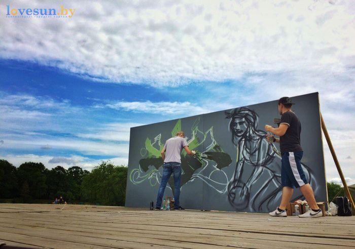 День молодёжи 24.06.2017 пляж песок граффити слава силен и рома сцена