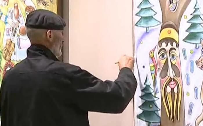 сергей каваль пишет картину прямо на выставке в национальном художественном музее 2 (1)