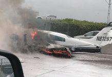 Самолёт рухнул на автостраду в калифорнии
