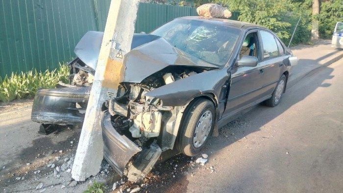 Хонда врезалась в столб в городе Речица ДТП 3