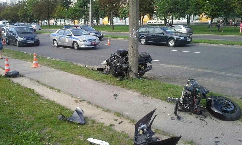 мотоциклист разбился в минске врезался в столб 08.2017 2