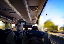 Пассажиры автобуса междугороднего сиденья и места
