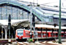 Поезд на вокзале жд