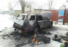 Сгоревший в речице автомобиль универсал
