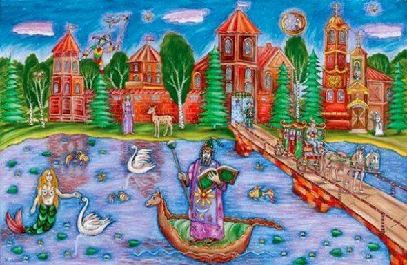 Сказки Мирского замка, картина, мост, лошадь, люди, русалка, лодка, художник Сергей Каваль