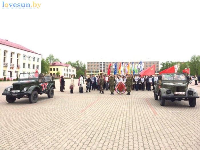 день победы 9 мая 2017 коллона шествия с автомобилями и венками