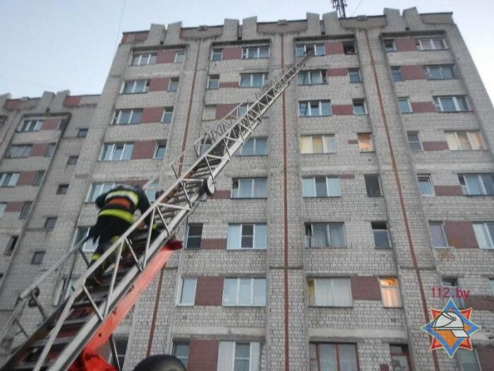 пожарные спасатели лезут по лестнице в речице в окно