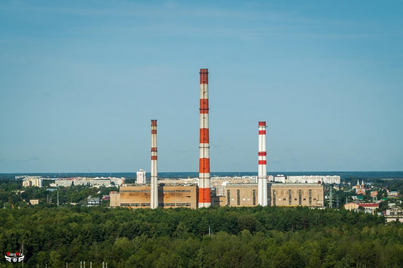 Светлогорская ТЭЦ с высоты котельной строящегося завода беленой целлюлозы