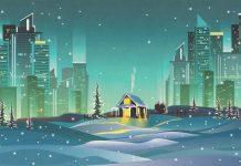 Иллюстрация деревенский дом в большом городе