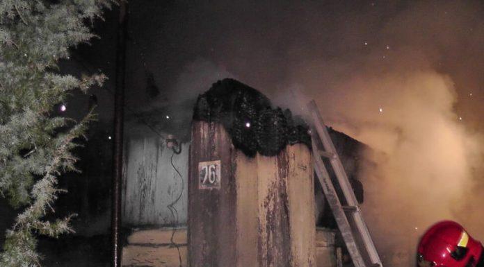 Пожар в Славани, сгорел дом лестница