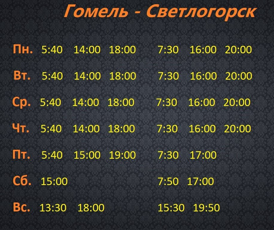 Расписание маршрутки Светлогорск Гомель 2019