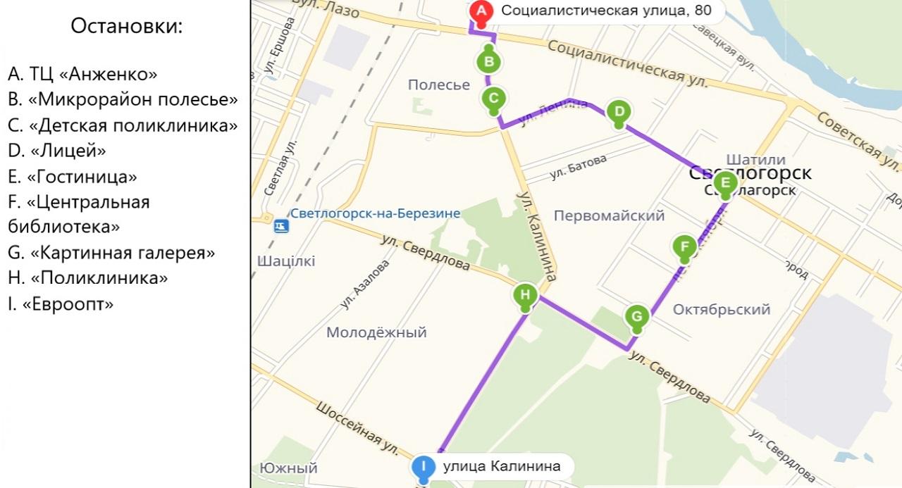 Схема остановок маршрутки Светлогорск Гомель в городе