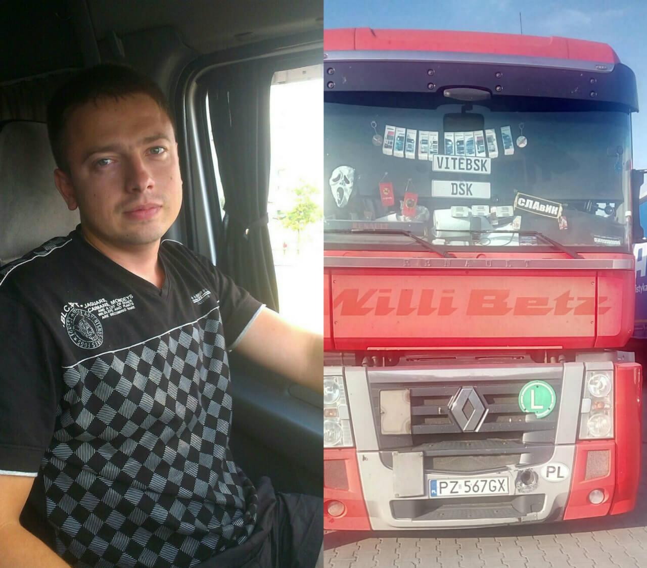 Дальнобойщик Святослав Турок в кабине грузового автомобиля Рено