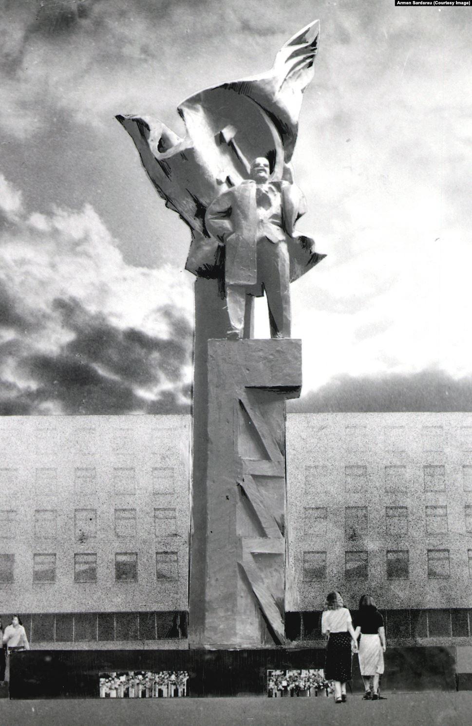 Эскиз самого большого памятника Ленину в Беларуси. Его высота 14 метров